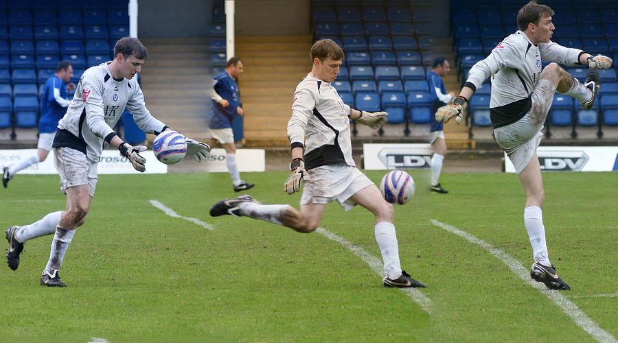 Football Photograph - Goalkeeper Kicking Sequence by David Birchall
