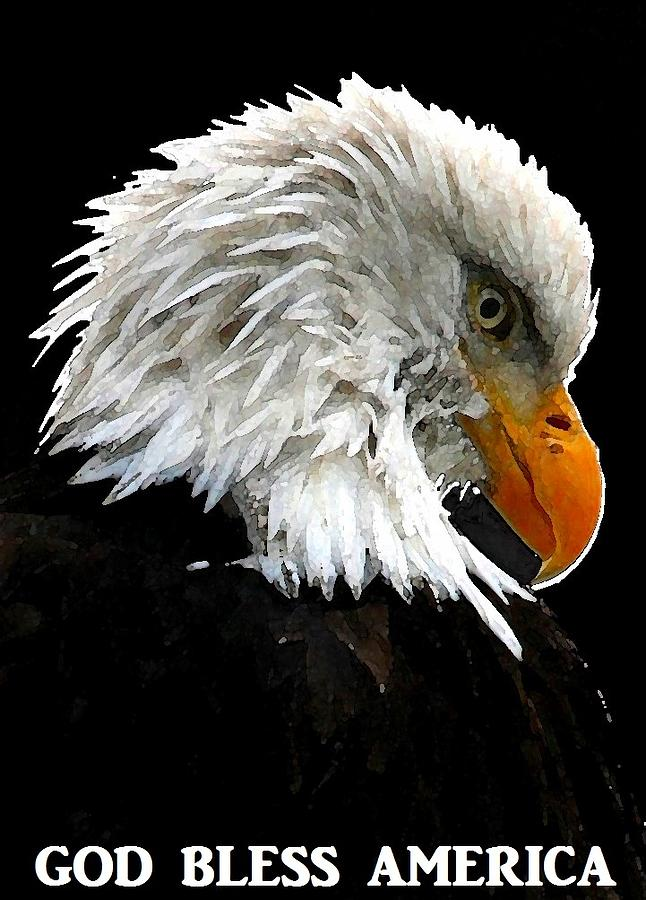 Bald Eagle Digital Art - God Bless America by Carrie OBrien Sibley