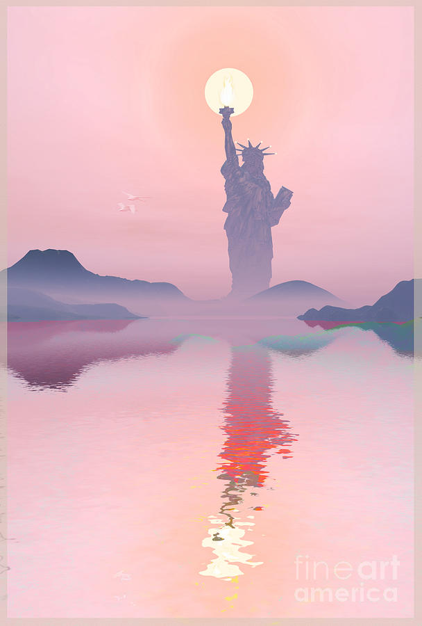 The Statue Of Liberty Digital Art - God Morning by Harald Dastis