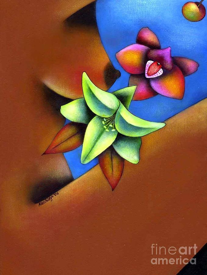Woman Painting - Goddess In Bloom by Mucha Kachidza