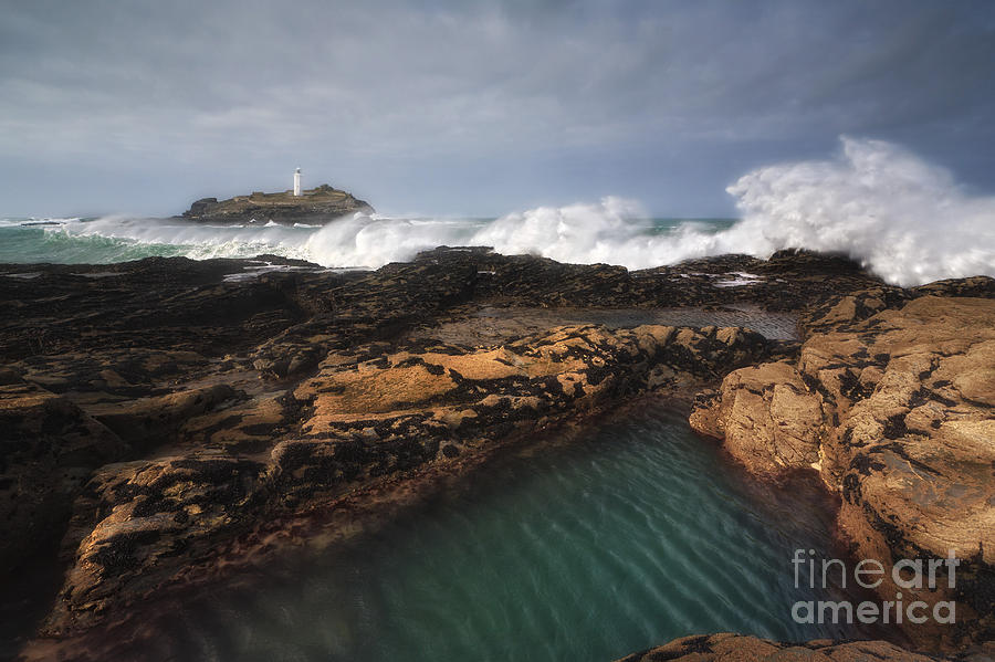Cornwall Photograph - Godrevy Lighthouse In Cornwall, England by Arild Heitmann