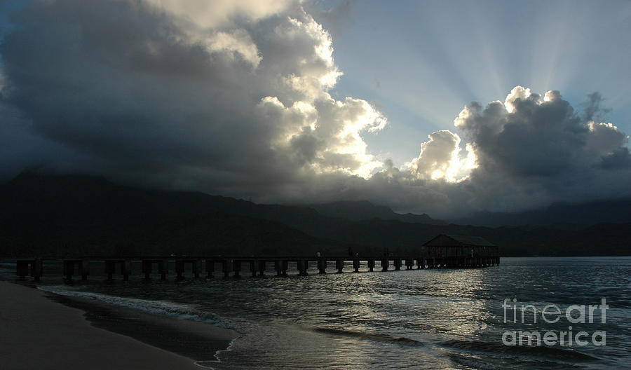 Gods Rays Over Hanalei Bay Pier Photograph by Vivian