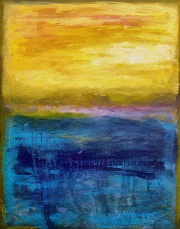 Lake Painting - Gold And Pink Sunset Ll by Michelle Calkins