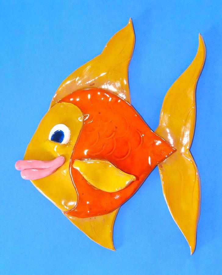 Fish Ceramic Art - Gold Fish by Kimberly Castor
