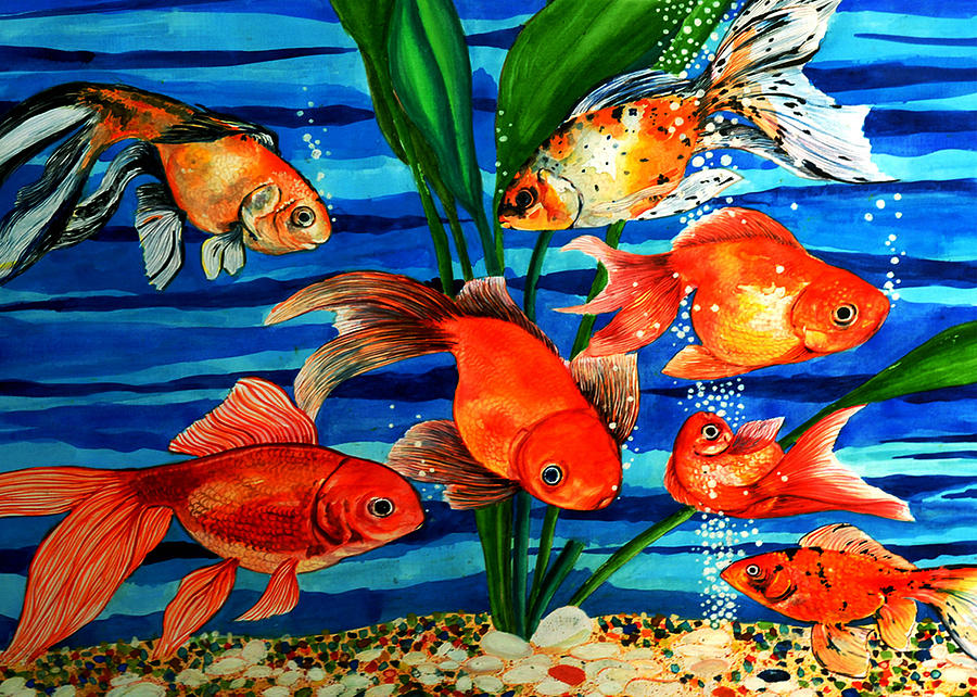 Gold Fishes Painting - Gold Fishes by Johnson Moya