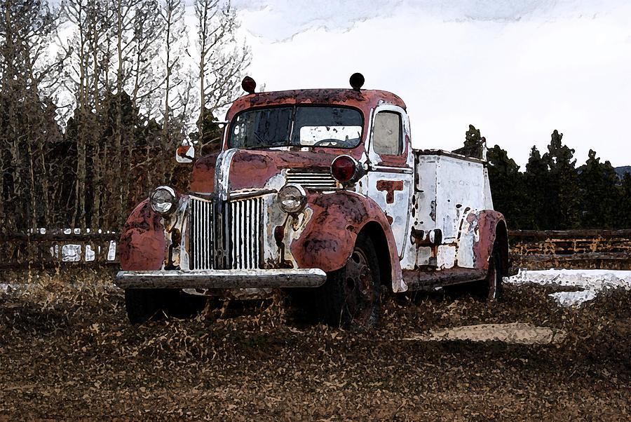 Abstract Digital Art - Gold Hill Fire Truck by Bill Kennedy