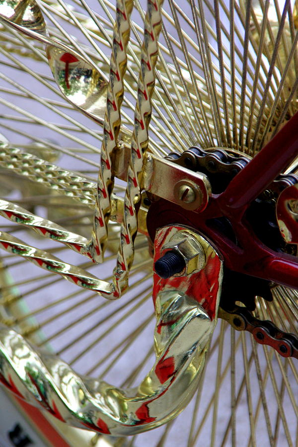 Gold Low Rider Spokes Photograph by Tam Graff