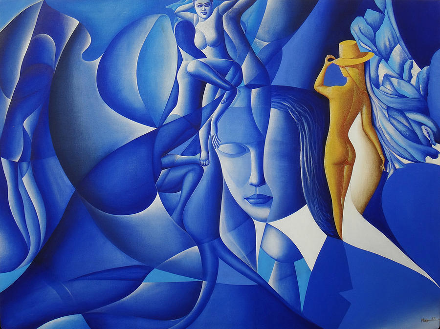 Figures Painting - Gold N Sea by Muhammad Arshad Khan MAK