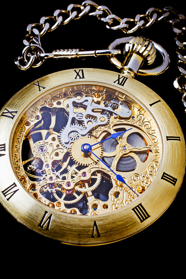 Time Photograph - Gold Pocket Watch by Garry Gay