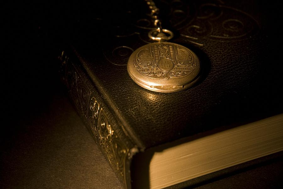 Antique Photograph - Gold Pocket Watch Resting On A Book by Philippe Widling