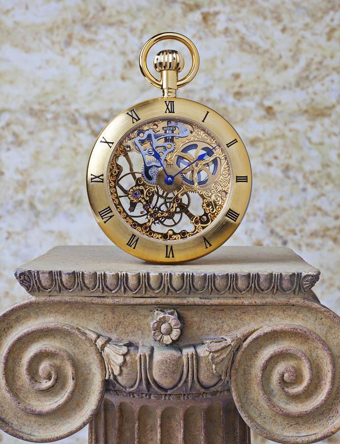 Gold Skeleton Pocket Watch Pedestal Photograph - Gold Skeleton Pocket Watch by Garry Gay