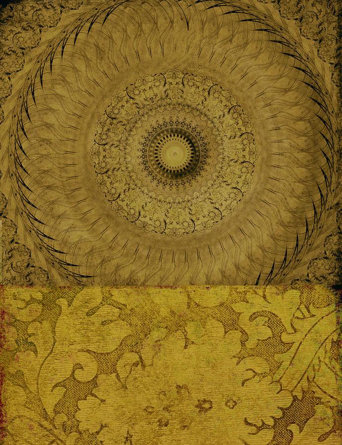 Ricki Mountain Mixed Media - Gold Wheel I by Ricki Mountain