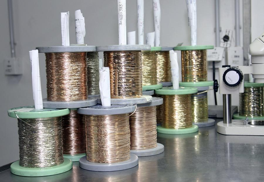 Gold Photograph - Gold Wires For Jewellery Manufacture by Ria Novosti
