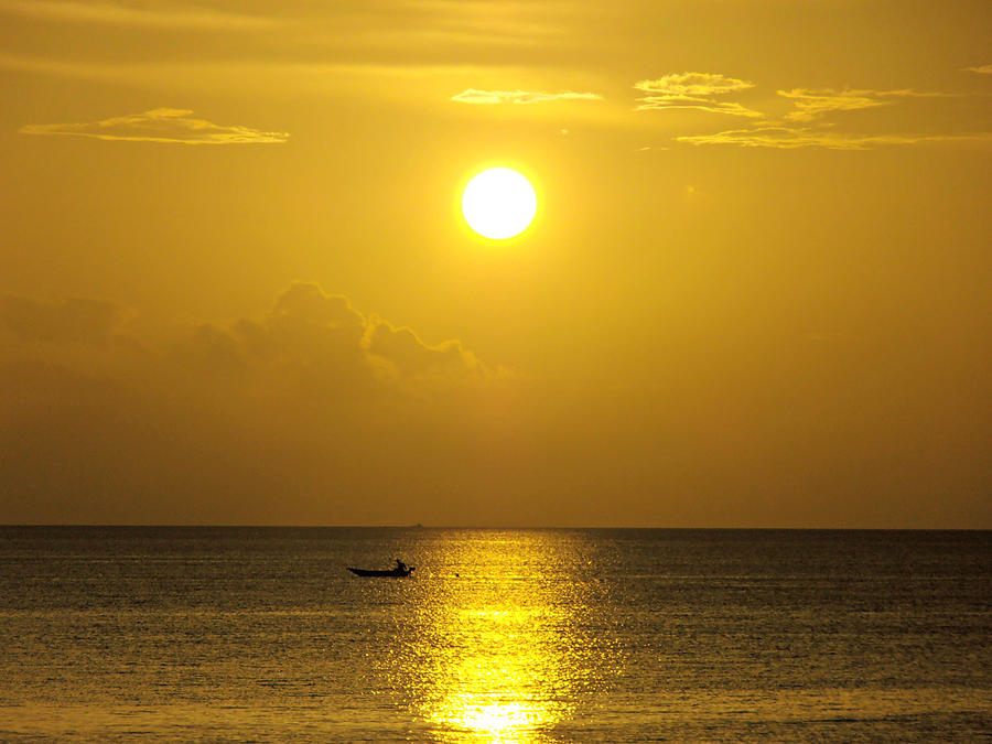 Sunset Photograph - Golden Bahamas Sunset by Kimberly Perry