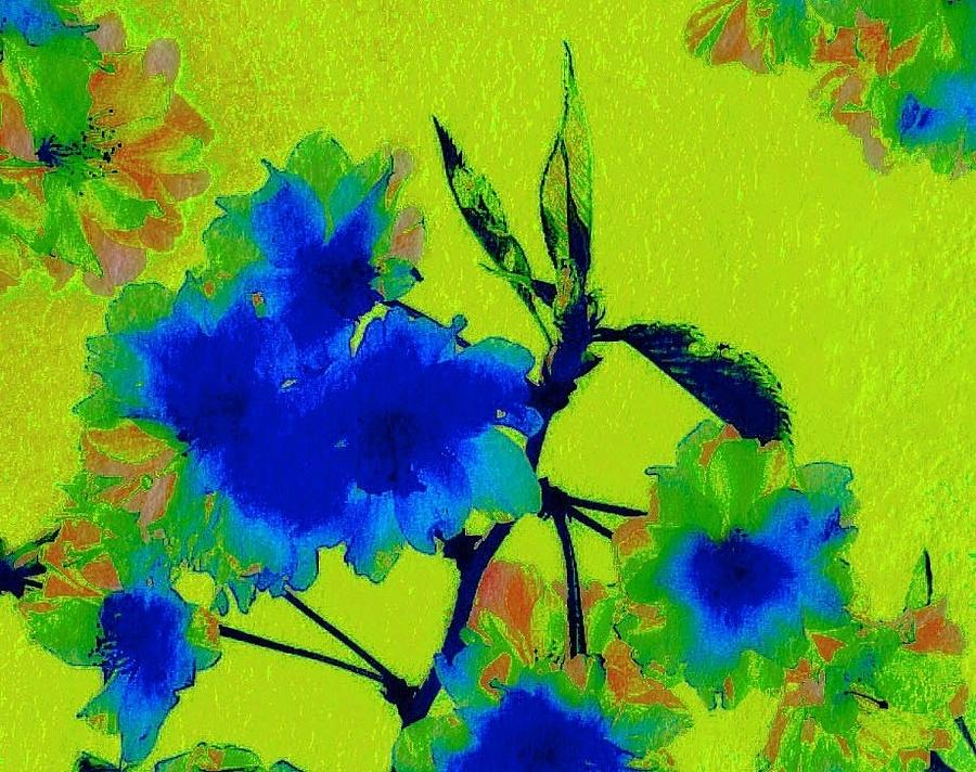 Blue Flower Photograph - Golden Blossom by Jen White