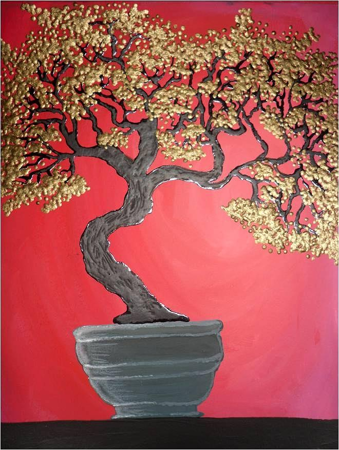 Bonsai Painting - Golden Bonsai by Silvia Louro