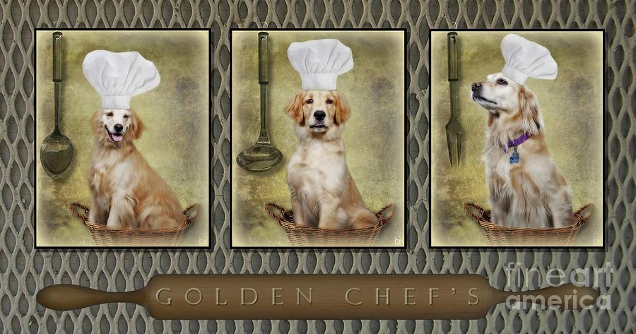 Golden Retrievers Photograph - Golden Chefs by Susan Candelario