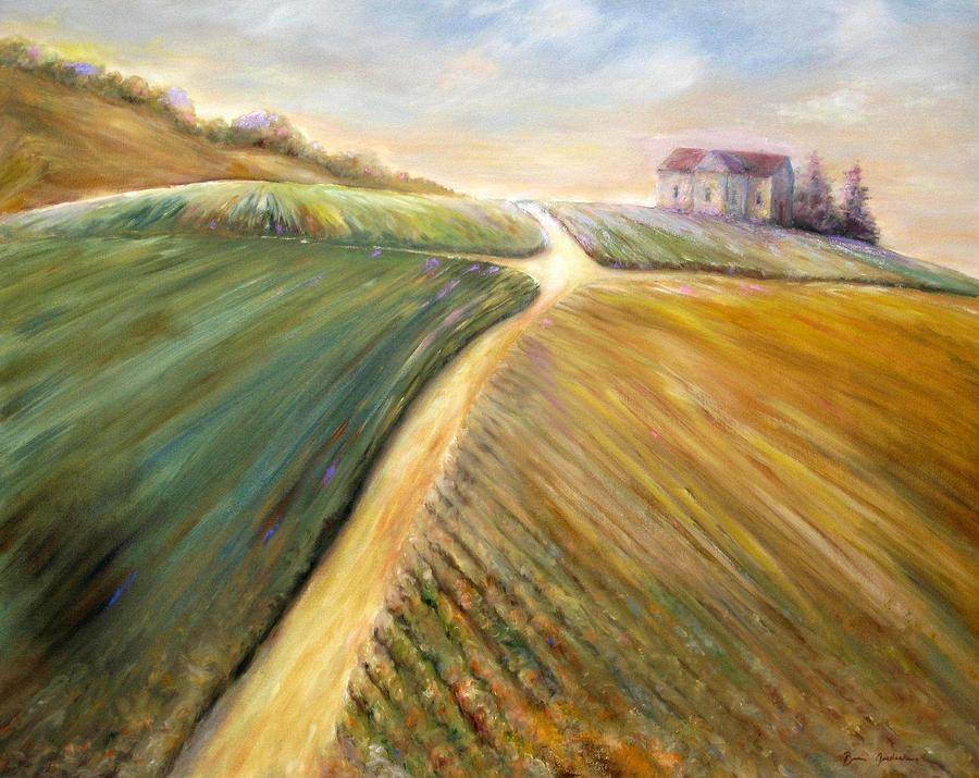Landscape Painting - Golden Fields by Bonnie Goedecke