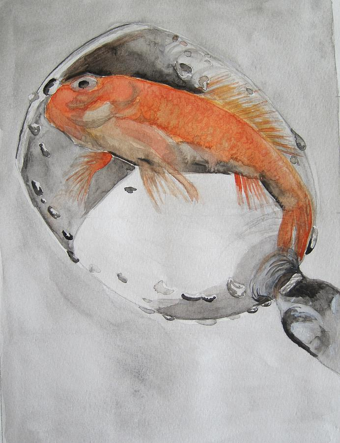 Glass Painting - Golden Fish - One Wish by Ema Dolinar Lovsin