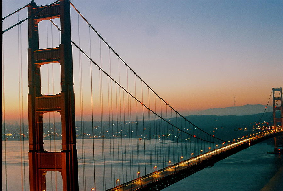 Sunrise Photograph - Golden Gate Blue by Trent Mallett