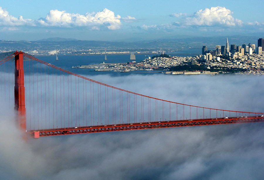 Golden gate bridge and downtown san francisco photograph for Kitchen cabinets lowes with golden gate wall art
