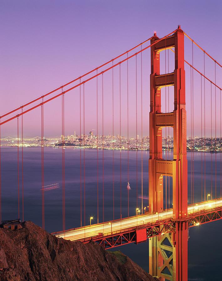 Golden Gate Bridge And San Francisco Skyline Twilight