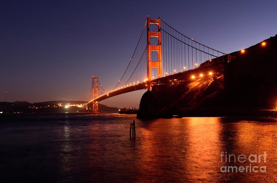 San Francisco Photograph - Golden Gate Bridge At Night 2 by Bob Christopher