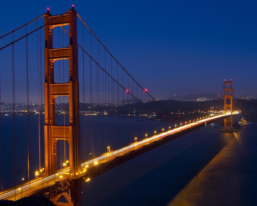 Golden Gate Bridge At Night Photograph By Orlando Guiang