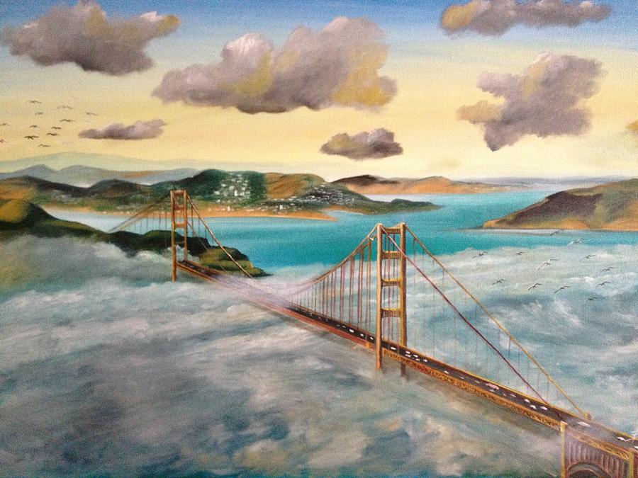 Golden Gate Painting - Golden Gate Bridge by Biren
