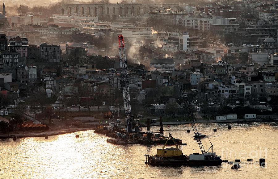 Crane Photograph - Golden Haze In Istanbul by John Rizzuto