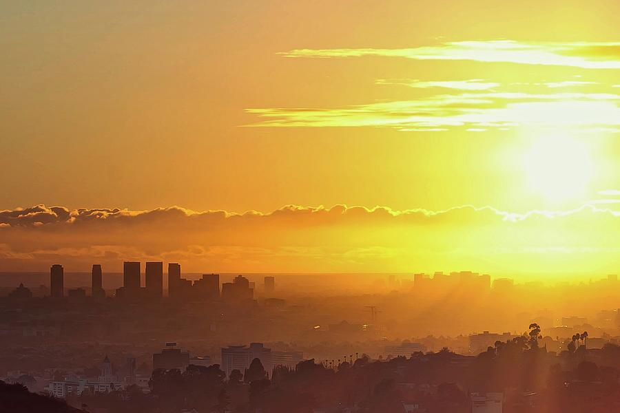 Horizontal Photograph - Golden Horizon At Sunset, Los Angeles by Eric Lo