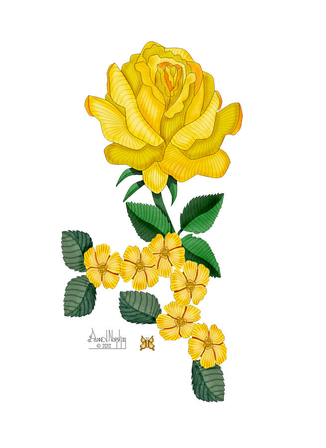 Golden January Rose Painting