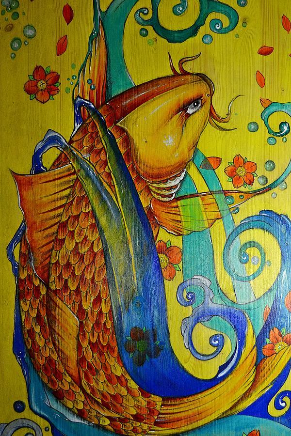Koi Painting - Golden Koi by Sandro Ramani