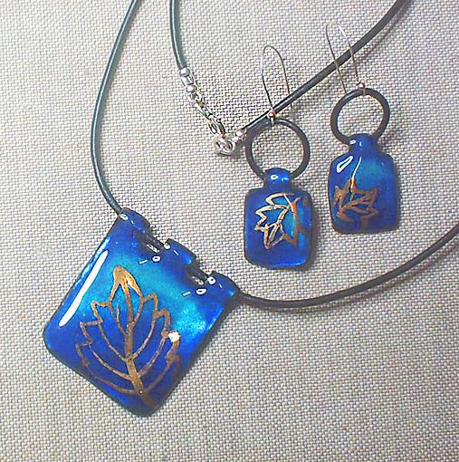 Enamel Jewelry - Golden Leaves 2 by Asya Ostrovsky