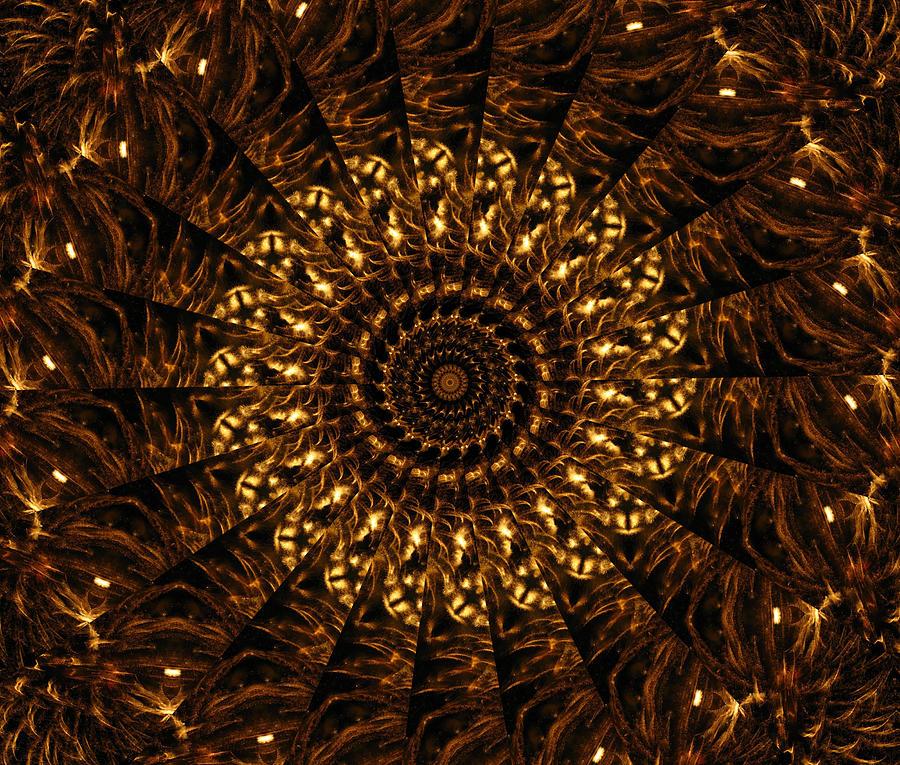 Kaleidoscope Digital Art - Golden Kaleidoscope 3 by Rhonda Barrett
