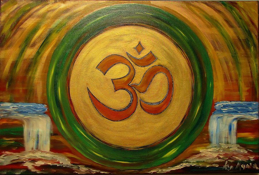 Golden Om Painting By Madhusudan Kawa