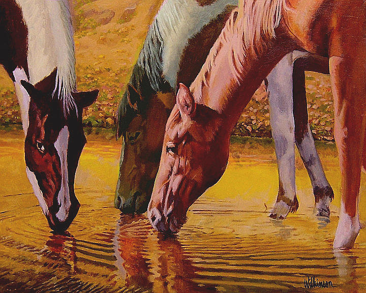 Horses Painting - Golden Pond by Ronald Wilkinson