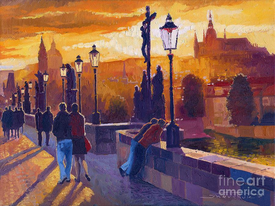Oil On Canvas Painting - Golden Prague Charles Bridge Sunset by Yuriy Shevchuk