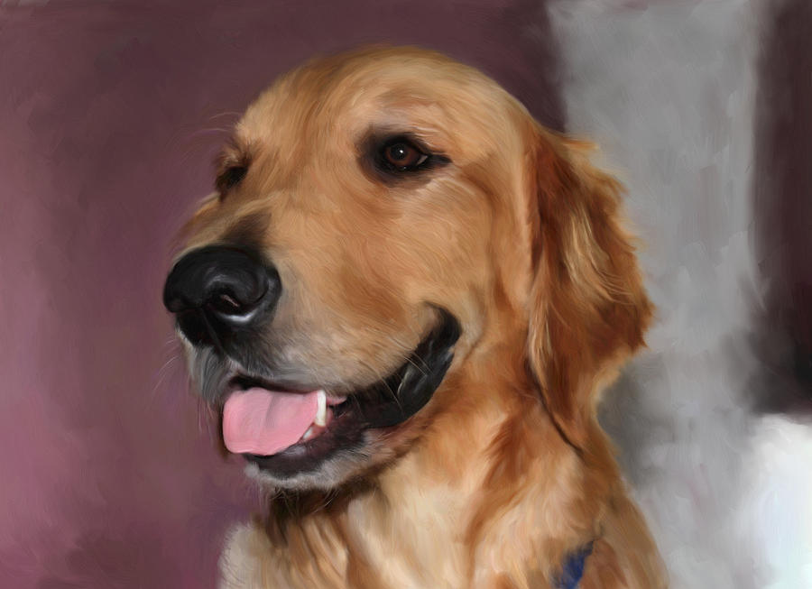 Dog Painting - Golden Retriever by Snake Jagger