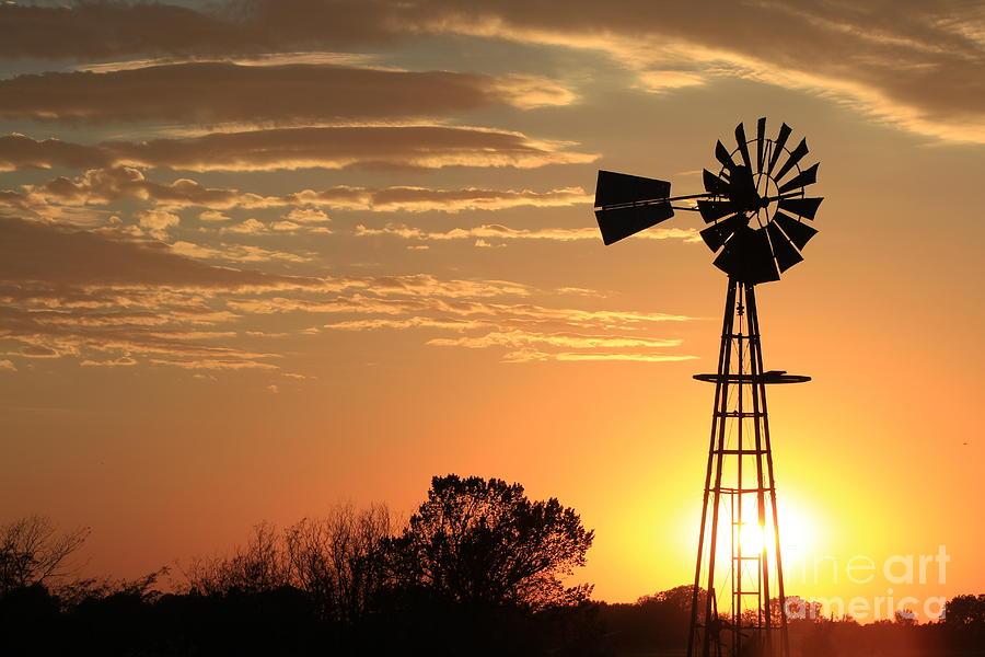 golden sky windmill sunset silhouette photograph by robert d brozek
