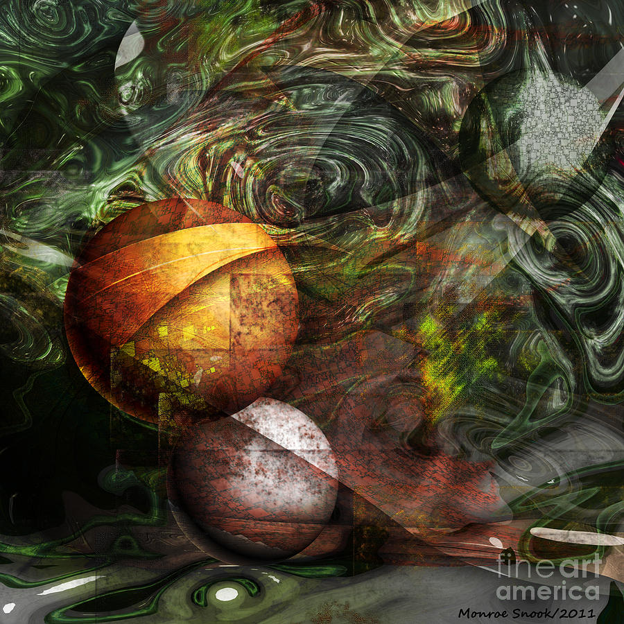 Abstraction Digital Art - Golden Sphere by Monroe Snook