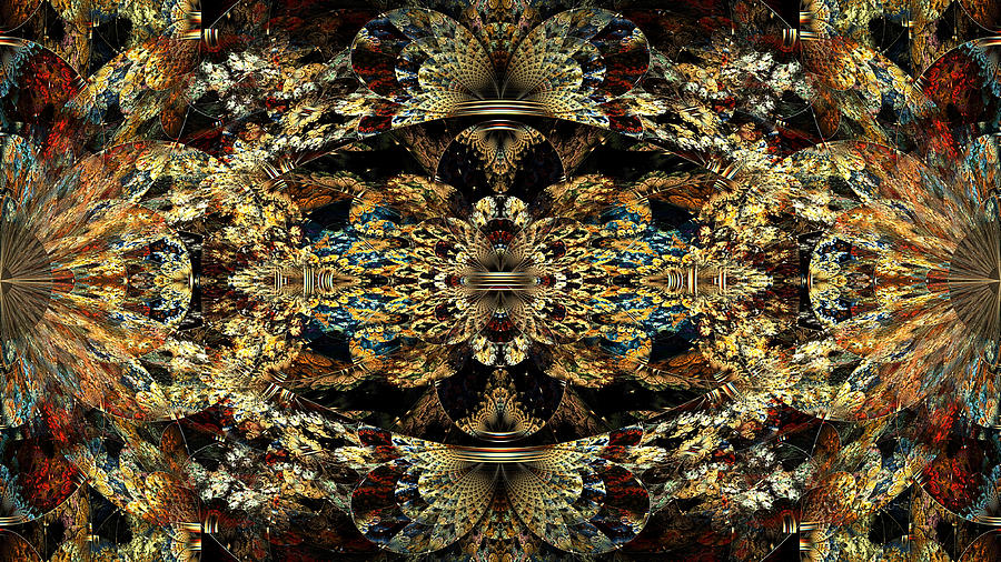 Abstract Digital Art - Golden Split Crop by Peggi Wolfe