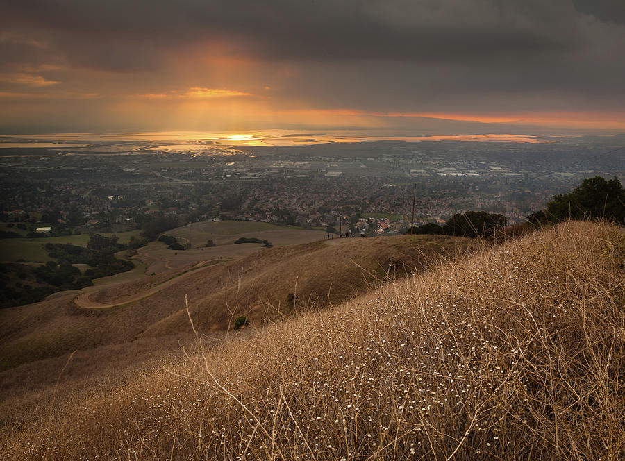 Horizontal Photograph - Golden Sunset Over San Francisco Bay by Sean Duan