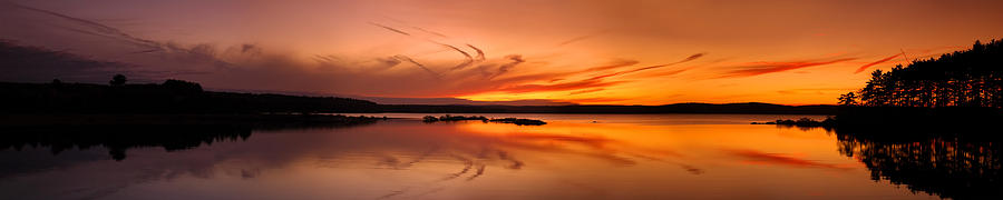 Angle Photograph - Golden Sunset Panorama On A Quiet Lake by Sebastien Coursol