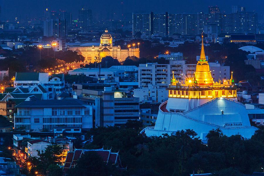 Bangkok Photograph - Golden Temple Bangkok Night by Arthit Somsakul