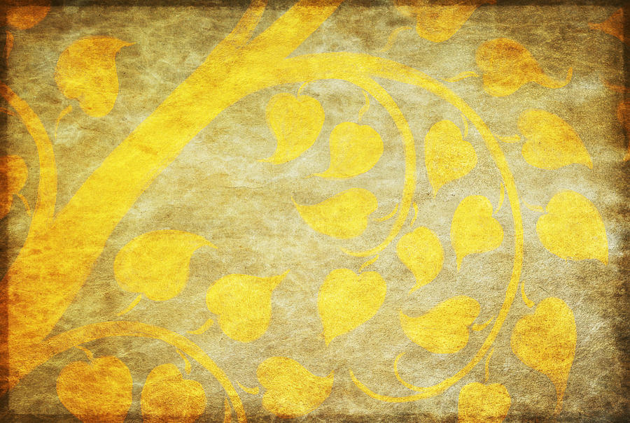 Abstract Painting - Golden Tree Pattern On Paper by Setsiri Silapasuwanchai