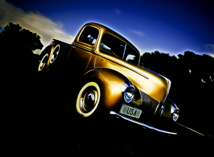 Ford Pickup Photograph - Golden V8 by Phil motography Clark