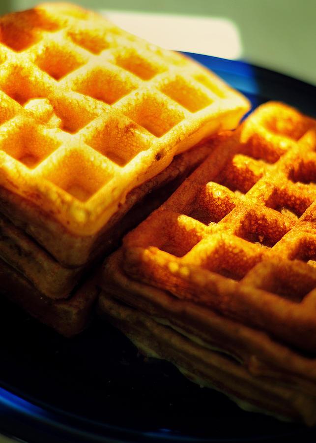 Waffles Photograph - Golden Waffles by Rebecca Sherman