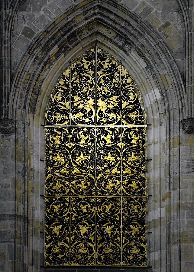Vitus Photograph - Golden Window - St Vitus Cathedral Prague by Christine Till