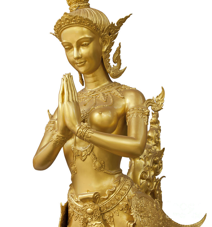 Angel Photograph - Goldent Ginnaree Statue Art by Anek Suwannaphoom